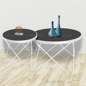 Bàn trà đôi chân kim loại hình sao màu trắng Chất liệu: Sắt phun sơn tĩnh điện, kính, đá Màu sản phẩm: Đen, trắng, đồng
