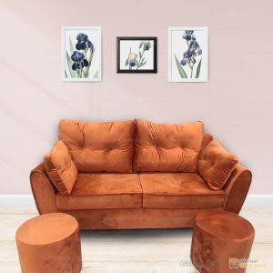 Chi tiết bộ sofa văng nhung đẹm rời 2 lớp màu camMàu sản phẩm: Màu cam (lựa chọn màu khác xin quý khách vui lòng liên hệ bộ phận bán hàng để lựa chọn mẫu vải theo yêu cầu).