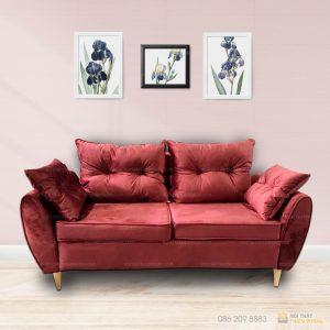Chi tiết bộ sofa văng nhung đẹm rời 2 lớp Bộ Sofa văng nỉ đệm rời màu đỏ là dòng sofa dạng đệm rời, gối tựa rời kết hợp khung gỗ tự nhiên đã qua tẩm sấy chống được mối mọt.