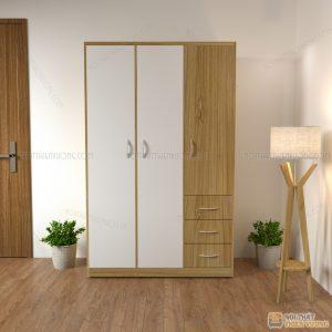 Tủ quần áo giá rẻ 3 cánhlà dòng tủ quần áođượcthiết kế theo phong cách hiện đại với tông màu trắng xen vàng 9223 sẽ giúp căn phòng của bạn trở lên sang trọng, vừa tiết kiệm diện tích vừa dễ lau chùi bên trong.