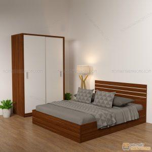 Giường gỗ công nghiệp 6041 kẻ chỉ trắng