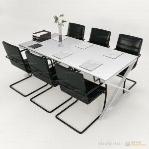 Bàn họp chân chữ x mặt gỗ công nghiệp là sản phẩm cần thiết giúp các văn phòng trở nên chuyên nghiệp, sử dụng chuyên biệt, là nơi đưa ra các quyết định định hướng chiến lược cho doanh nghiệp.