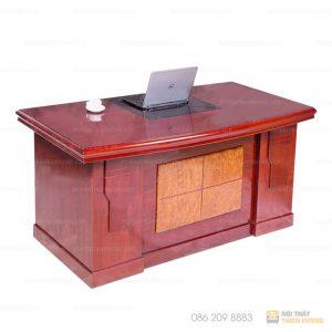Bàn lãnh đạo, quản lý 1m6 đẹp giá rẻ BGD-12 được làm bằng chất liệu gỗ công nghiệp cao cấp. Bàn được phủ một lớp Melamine, sơn PU chống trầy xước tốt