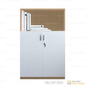 Dòng tủ tài liệu tủ phụ Thiên Vương với sự kết hợp của 2 chất liệu gỗ công nghiệp, chống nước, tính thẩm mỹ cao. Thiết kế gồm 2 khoang để file tài liệu, khoang dưới có 2 cánh mở có khóa, khoang trên không có cánh tiện nghi cho việc lưu trữ tài liệu, giấy tờ.